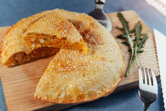 Pie with meat, homemade cakes. Advertising shooting menu. Royalty Free Stock Photos