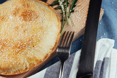 Pie with meat, homemade cakes. Advertising shooting menu. Royalty Free Stock Image