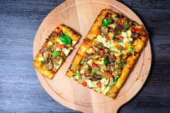 Pie with meat, mushrooms and herbs Royalty Free Stock Images