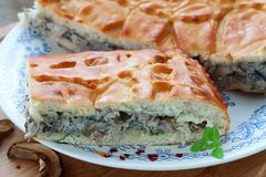 Pie with meat and sauce Stock Photo