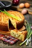 Pie med ägget och salladslökar. Arkivfoton
