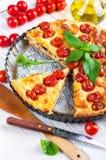 Pie with mozzarella Stock Photos