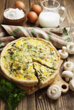 Pie with mushrooms, chicken and herbs Royalty Free Stock Images