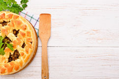 Pie with mushrooms. Royalty Free Stock Images