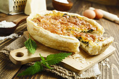 Pie with nettles and cheese Royalty Free Stock Image