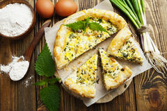 Pie with nettles and spring onion Royalty Free Stock Photo