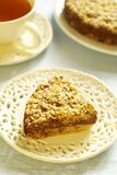 Pie with oat-flakes and chocolate cream Royalty Free Stock Image