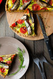 Pie open top with eggs and vegetables, fish Stock Photography