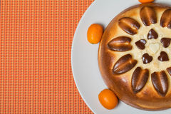 Pie on orange background top view Royalty Free Stock Photos