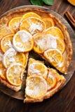 Pie with orange caramelized slices Stock Photo