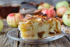 Pie with organic apples and hot brewed tea Royalty Free Stock Image