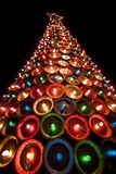 Pie Pan Christmas Tree. A unique roadside attraction in North Texas is this christmas tree made from pie pans and colorful lights Royalty Free Stock Photography