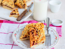 Pie pastry with apple jam and milk in a glass bottle Stock Photography