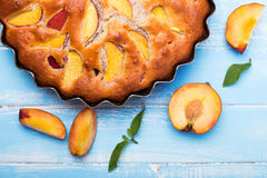 Pie with peaches Stock Photo