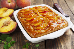 Pie with peaches Stock Images