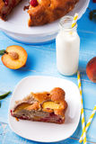 Pie with peaches and raspberry Royalty Free Stock Photo