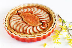 Pie of pears and almond meal baked with cinnamon and marzipan Royalty Free Stock Images