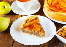 Pie with pears on a white plate Royalty Free Stock Images