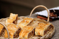 Pie. Ces of cake on a wicker tray stock image