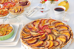 Pie with plums. And coffee Royalty Free Stock Photography