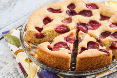 Pie with plums and slice and cup with coffee Royalty Free Stock Photo