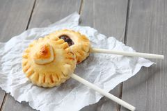 Pie pops with chocolate Royalty Free Stock Image