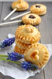 Pie pops with chocolate and muscari flowers Royalty Free Stock Images