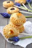 Pie pops with chocolate and muscari flowers Royalty Free Stock Photo