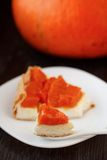 Pie with pumpkin and cream cheese. Stock Photo