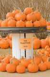 Pie Pumpkins at a Farmers Market. A display of pie pumkins for sale Royalty Free Stock Photo