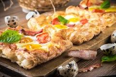 Pie of quail eggs with tomato Royalty Free Stock Photo