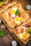 Pie of quail eggs with tomato Royalty Free Stock Photos
