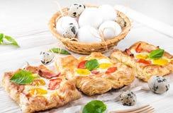 Pie of quail eggs with tomato Stock Photography