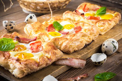 Pie of quail eggs with tomato Royalty Free Stock Image