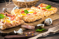 Pie of quail eggs with tomato Royalty Free Stock Photography