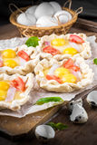 Pie of quail eggs with tomato Royalty Free Stock Images