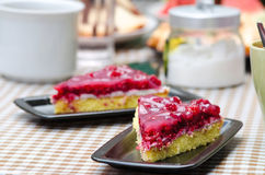 Pie with raspberries, cake food close up Stock Photos