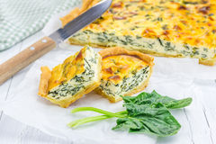 Pie with ricotta and spinach. Closeup Stock Image