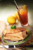 Pie Set. With a glass of ice lemon tea stock image