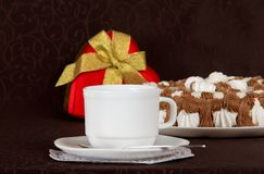 Pie, set of tea-things and gift heart Royalty Free Stock Photos