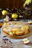 Pie with slices of apple and quince Stock Images