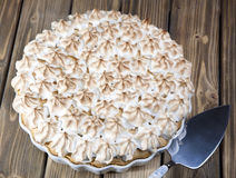 Pie with slices of peach and meringue Royalty Free Stock Image