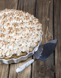 Pie with slices of peach and meringue Royalty Free Stock Photo