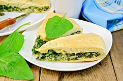 Pie spinach and cheese with leaves and knife Royalty Free Stock Photos