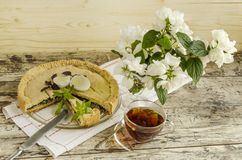 Pie with spinach and eggs Royalty Free Stock Photos