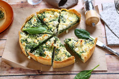 Pie with spinach and feta cheese Royalty Free Stock Photo