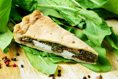 Pie with spinach and feta cheese, food Royalty Free Stock Image