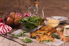 Pie with spinach and ricotta cheese. royalty free stock image