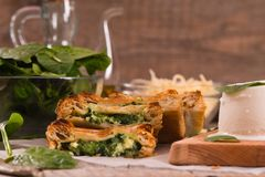 Pie with spinach and ricotta cheese. royalty free stock photography