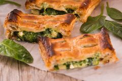 Pie with spinach and ricotta cheese. royalty free stock images